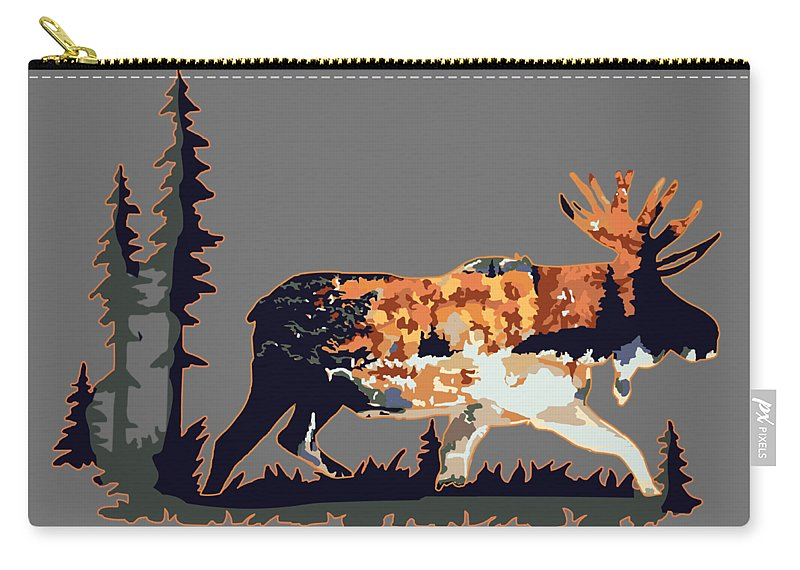 Moose Carry-all Pouch featuring the digital art Moose by Victoria Sinkevych