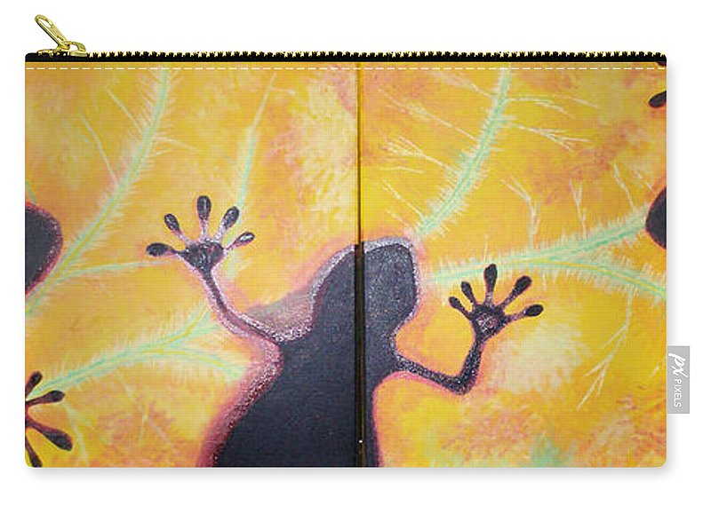 Geckos Carry-all Pouch featuring the painting More Geckos by Gary Hogben