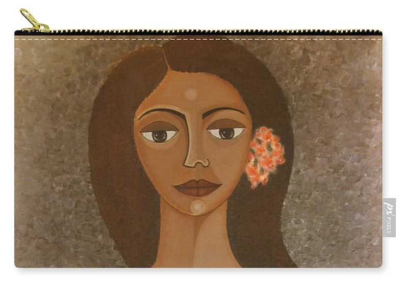 Oil Carry-all Pouch featuring the painting More Than Flowers She Sold Illusions by Madalena Lobao-Tello