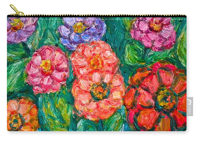 Flowers Carry-all Pouch featuring the painting More Zinnias by Kendall Kessler