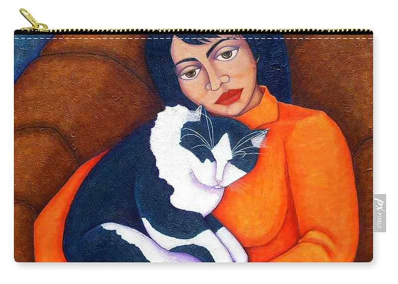 Woman Carry-all Pouch featuring the painting Morgana With Woman by Madalena Lobao-Tello