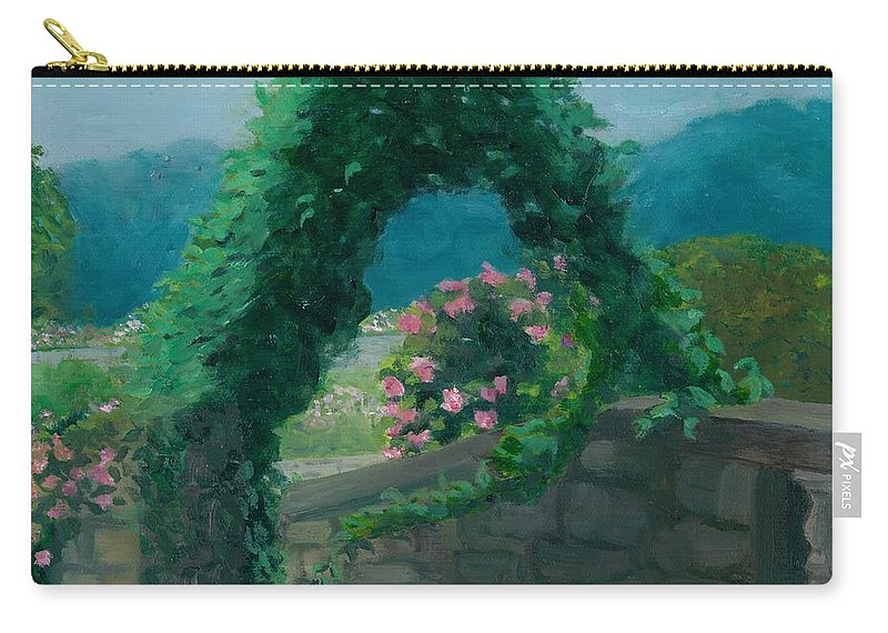 Landscape Carry-all Pouch featuring the painting Morning At Harkness Park by Paula Emery