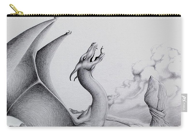 Dragon Carry-all Pouch featuring the digital art Morning Bellow by Robert Ball