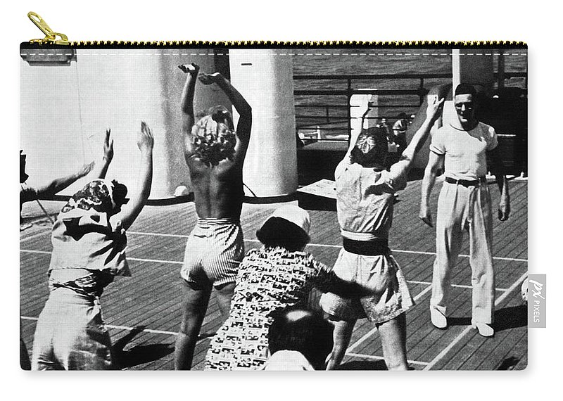 Queen Mary Carry-all Pouch featuring the photograph Morning Calisthenics On The Rms Queen Mary 1938 by Sad Hill - Bizarre Los Angeles Archive