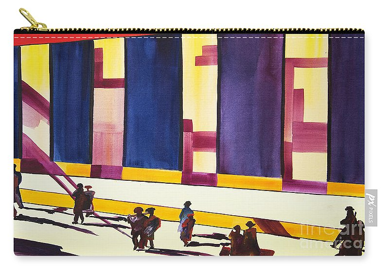 Figures Carry-all Pouch featuring the painting Morning Commute by JoAnn DePolo