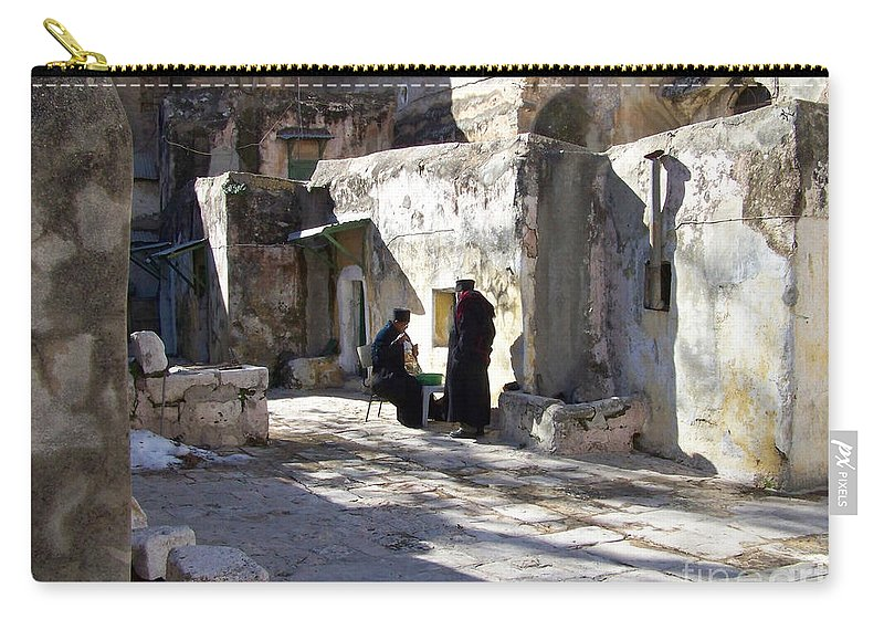 Jerusalem Carry-all Pouch featuring the photograph Morning Conversation by Kathy McClure