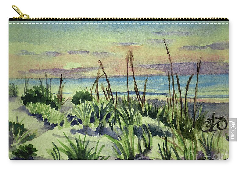 Ocean Paintings Carry-all Pouch featuring the painting Morning Dunes 7-7-2017 by Julianne Felton