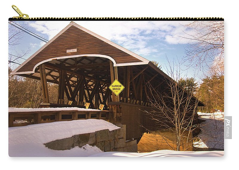 new England Covered Bridges Carry-all Pouch featuring the photograph Morning Finds The Rowell Bridge by Paul Mangold