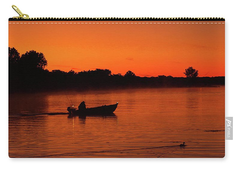 Boating Carry-all Pouch featuring the photograph Morning Fishing On The Lake by Nick Zelinsky