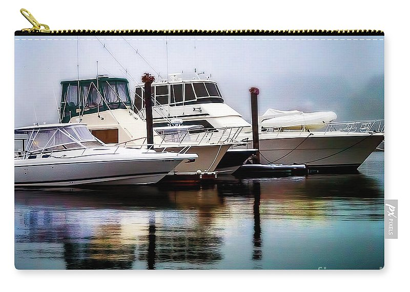 Ship Carry-all Pouch featuring the photograph Morning Fog At Boothbay by Michael Riha