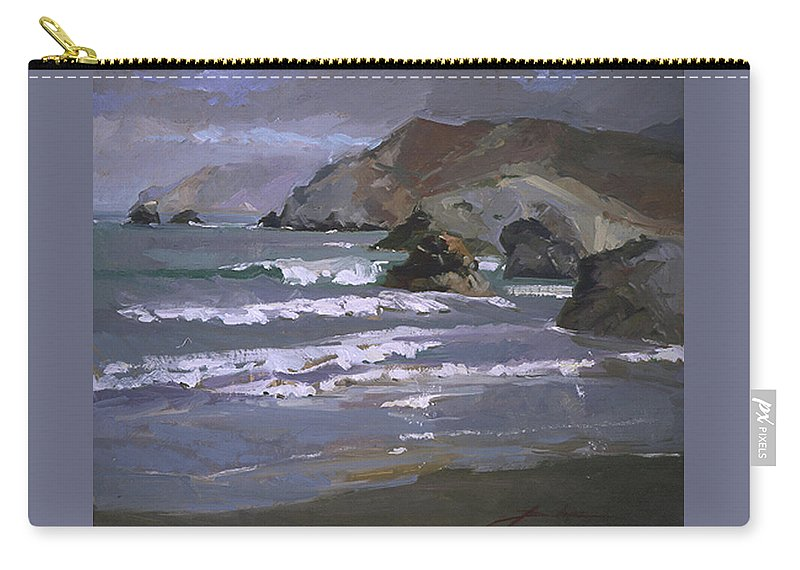 Seascape Carry-all Pouch featuring the painting Morning Fog Shark Harbor - Catalina Island by Betty Jean Billups