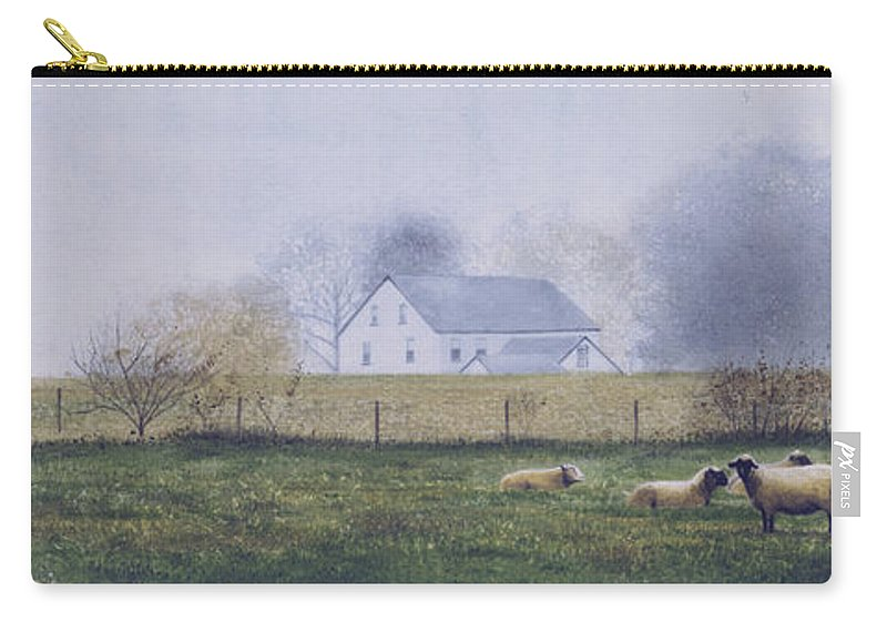 Watercolor Carry-all Pouch featuring the painting Morning Fog by Denny Bond