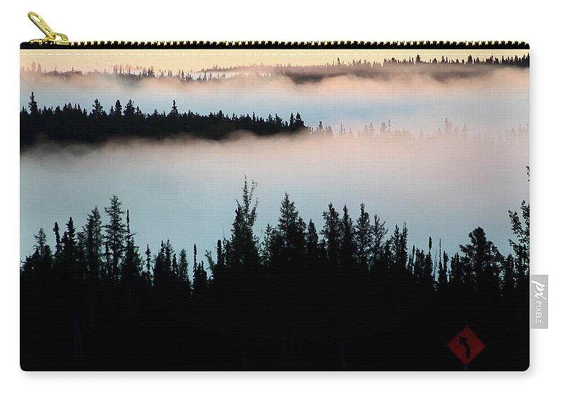 Morning Carry-all Pouch featuring the digital art Morning Fog In Northern Saskatchewan by Mark Duffy