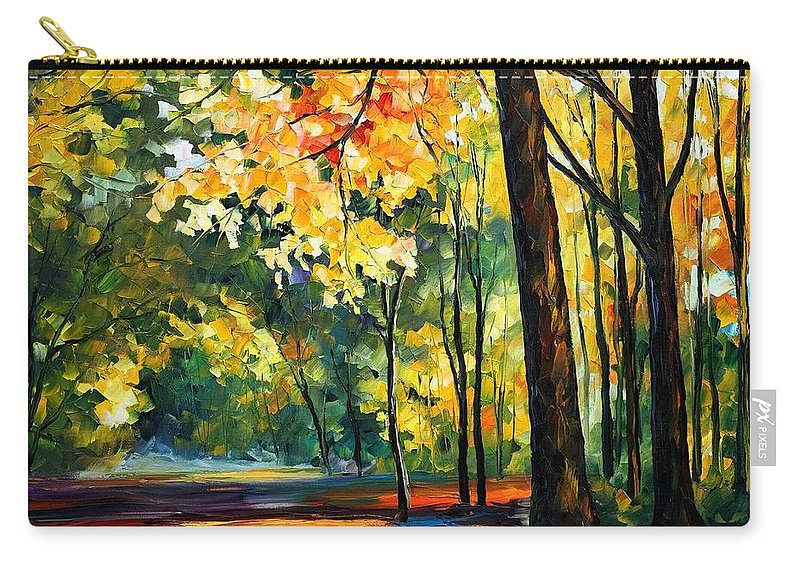 Afremov Carry-all Pouch featuring the painting Morning Forest by Leonid Afremov