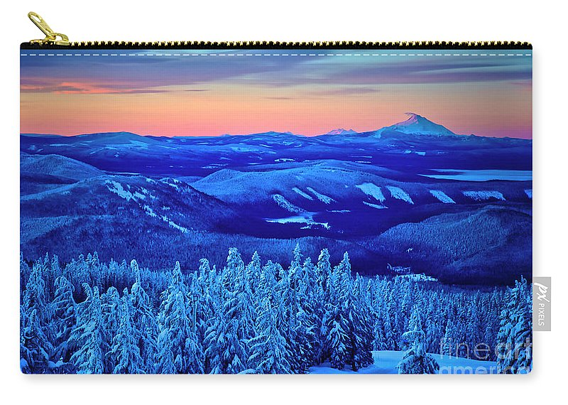 Winter Carry-all Pouch featuring the photograph Morning From Timberline Lodge by Bruce Block