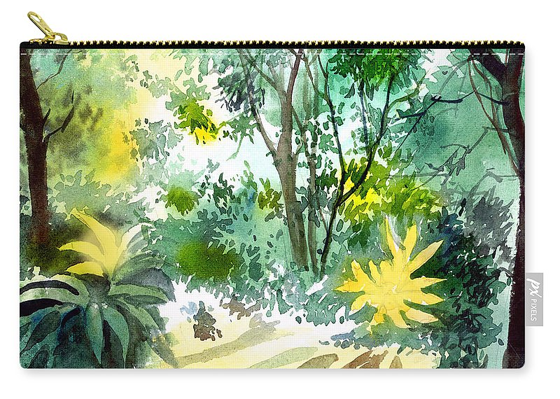 Landscape Carry-all Pouch featuring the painting Morning Glory by Anil Nene