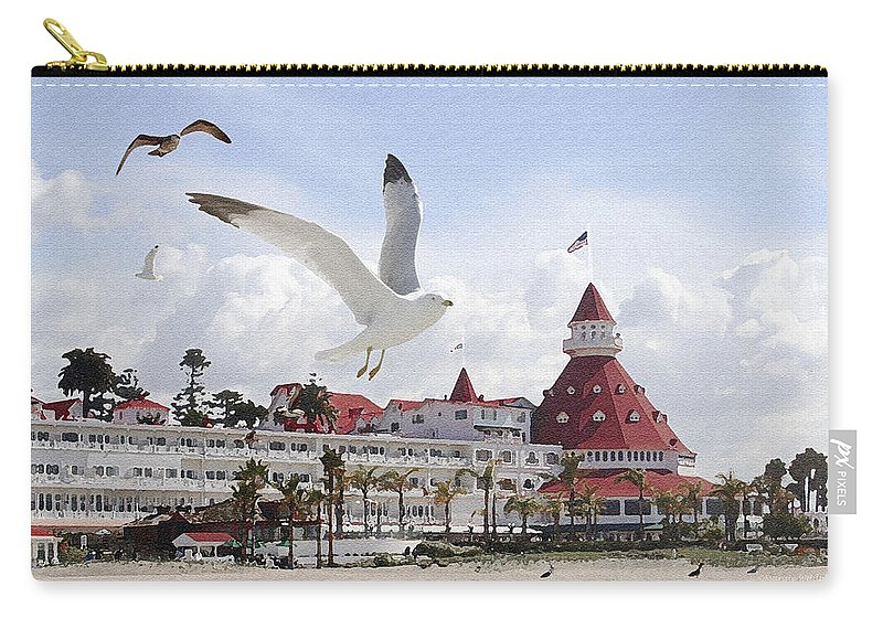 Beach Carry-all Pouch featuring the photograph Morning Gulls On Coronado by Margie Wildblood