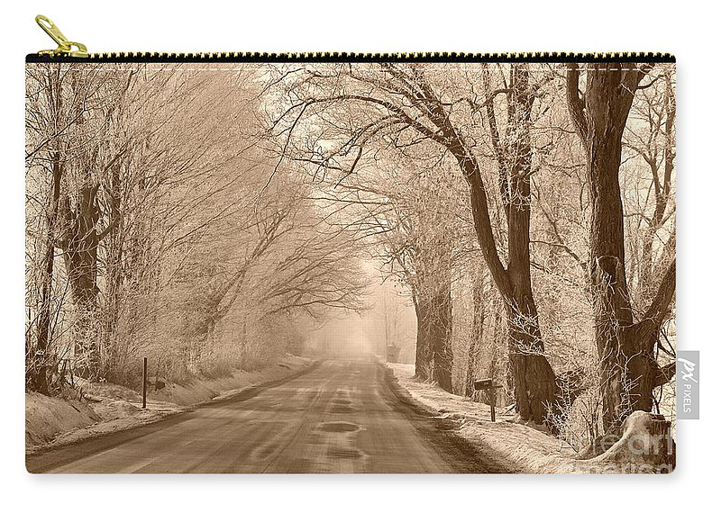 Winter Carry-all Pouch featuring the photograph Morning Ice And Fog by Deborah Benoit