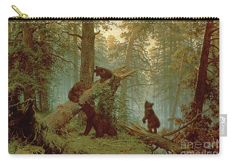 Morning Carry-all Pouch featuring the painting Morning In A Pine Forest by Ivan Ivanovich Shishkin