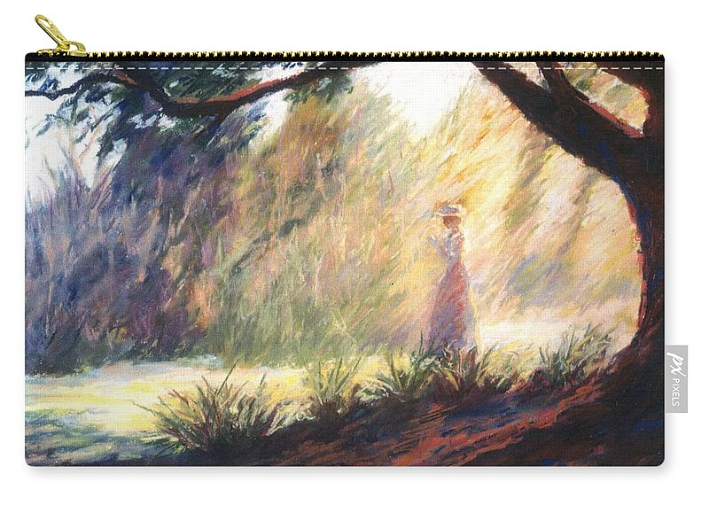 Woman Meditating Tree Park Outdoor Carry-all Pouch featuring the pastel Morning Meditation by Pat Snook