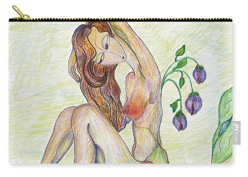 Figurative Art Paintings Carry-all Pouch featuring the drawing Morning by Mila Ryk