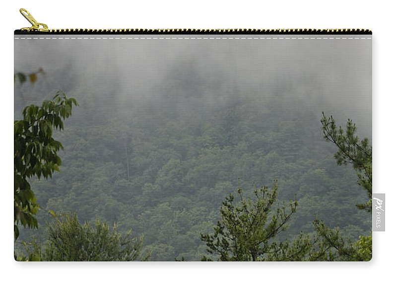 Bluestone Carry-all Pouch featuring the photograph Morning Mist Bluestone State Park West Virginia by Teresa Mucha