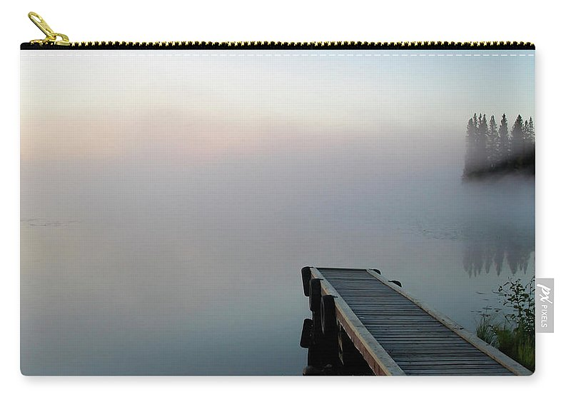 Carry-all Pouch featuring the digital art Morning Mist On Lynx Lake Saskatchewan by Mark Duffy