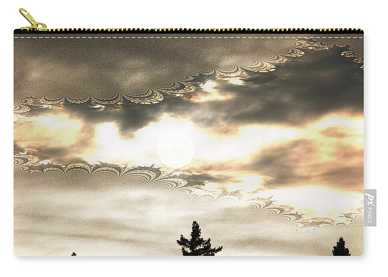 Moon Sky Trees Abstract Forest Wild Portal Clouds Gold Fractal Carry-all Pouch featuring the digital art Morning Moon by Andrea Lawrence
