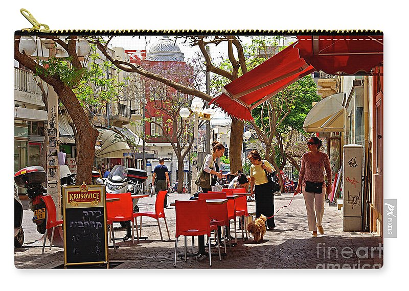 Morning Carry-all Pouch featuring the photograph Morning On A Street In Tel Aviv by Zal Latzkovich