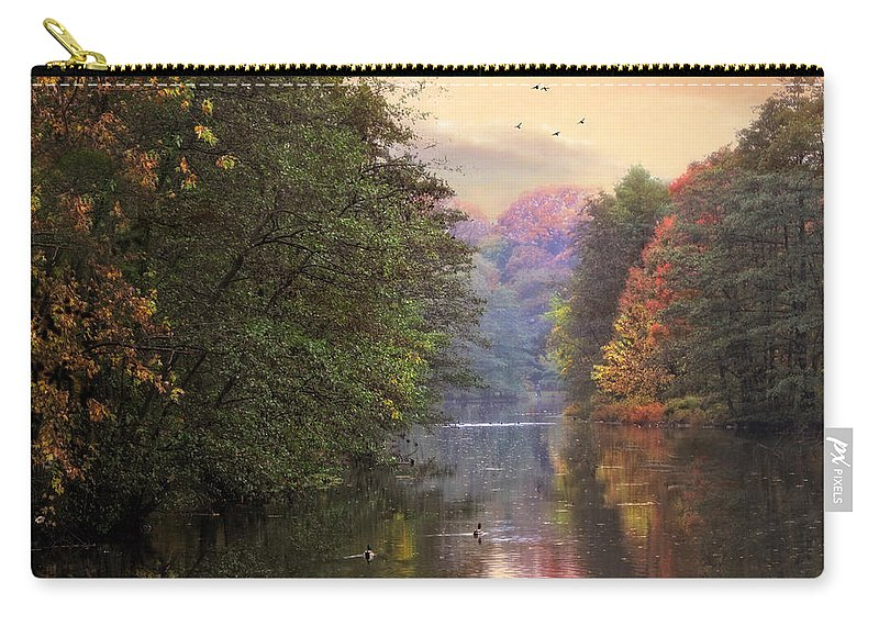 Autumn Carry-all Pouch featuring the photograph Morning River View by Jessica Jenney