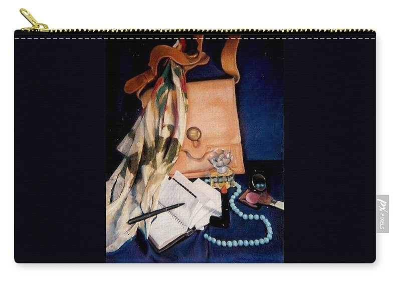 Blue Carry-all Pouch featuring the pastel Morning Rush by Constance Drescher