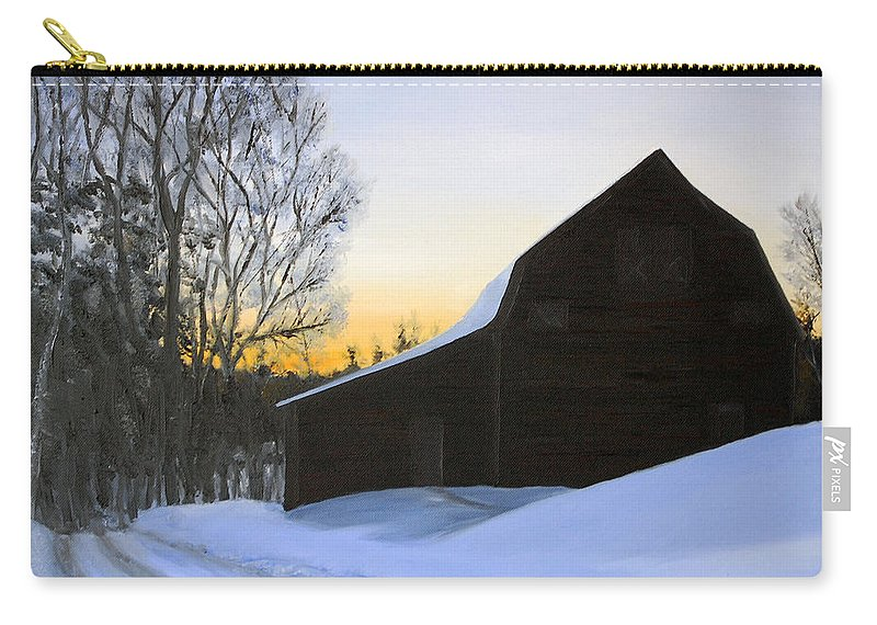 Sunrise Carry-all Pouch featuring the painting Morning Solitude by Mary Tuomi