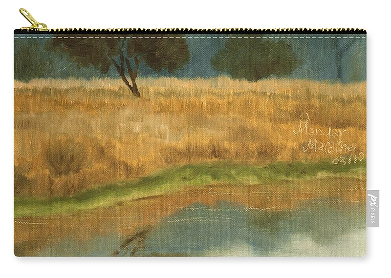 Landscape Carry-all Pouch featuring the painting Morning Still by Mandar Marathe