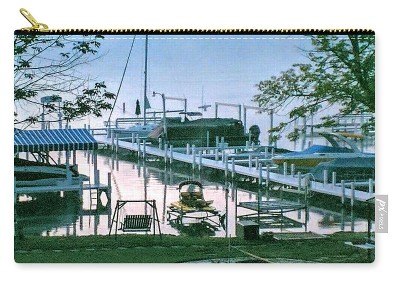 Pier. Boats Carry-all Pouch featuring the photograph Morning Stillness In Williams Bay, Wi by Jane Butera Borgardt