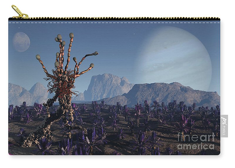 Alien Carry-all Pouch featuring the digital art Morning Stroll by Richard Rizzo