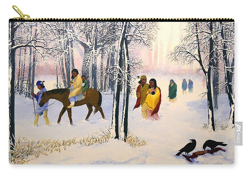 Cherokee Carry-all Pouch featuring the painting Morning Tears by John Guthrie