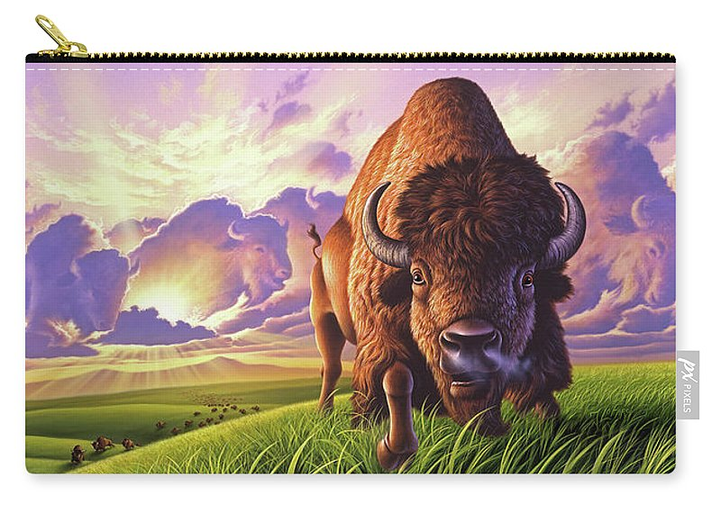 Buffalo Carry-all Pouch featuring the painting Morning Thunder by Jerry LoFaro