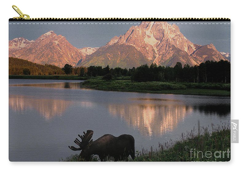 Grand Teton Carry-all Pouch featuring the photograph Morning Tranquility by Sandra Bronstein