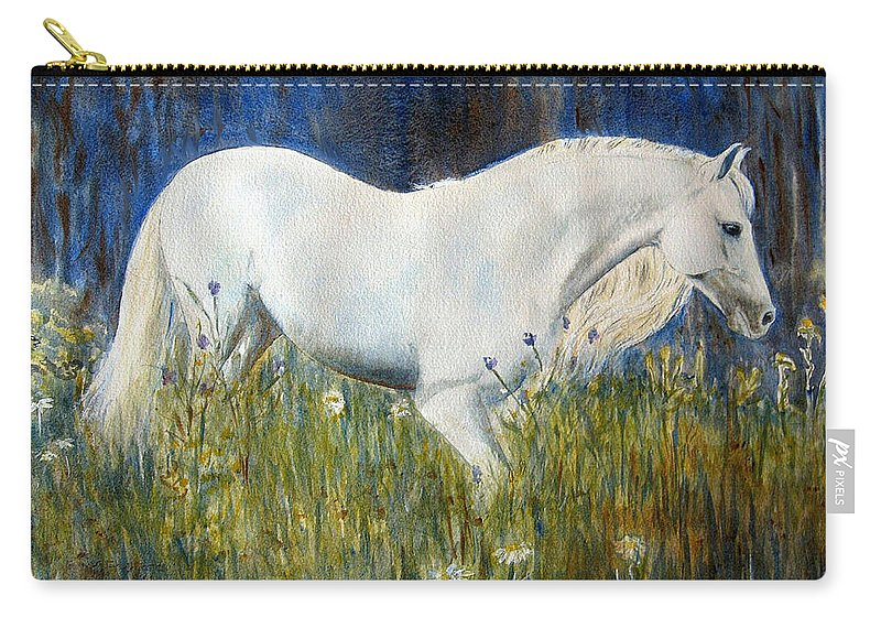Horse Painting Carry-all Pouch featuring the painting Morning Walk by Frances Gillotti