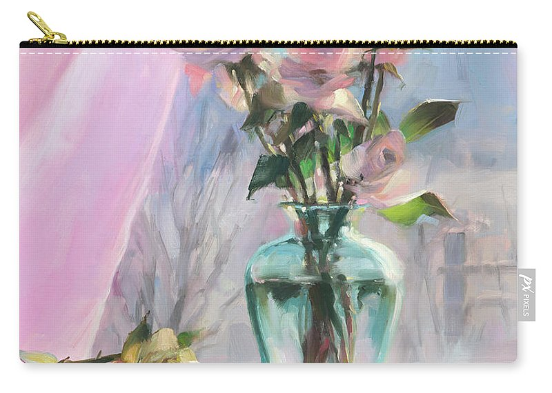 Flowers Carry-all Pouch featuring the painting Morning's Glory by Steve Henderson