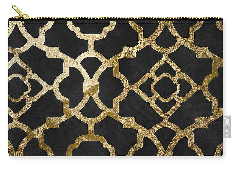 Black And Gold Pattern Carry-all Pouch featuring the painting Moroccan Gold IIi by Mindy Sommers