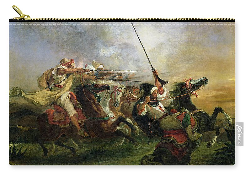 Moroccan Carry-all Pouch featuring the painting Moroccan Horsemen In Military Action by Ferdinand Victor Eugene Delacroix