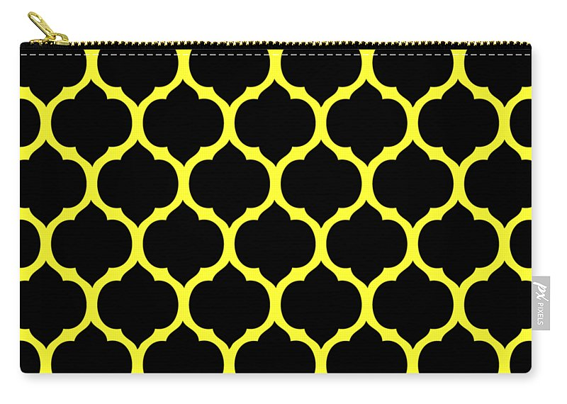 Moroccan Carry All Pouch Featuring The Digital Art Trellis Black Pattern 05 P0102