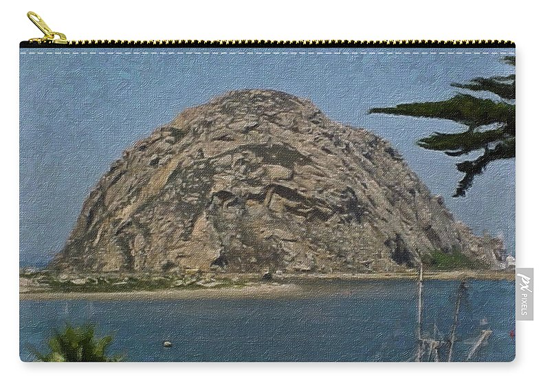 California Carry-all Pouch featuring the painting Morro Rock California Painting by Teresa Mucha