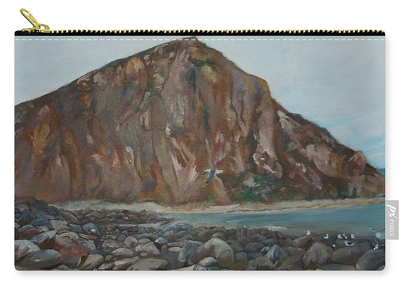 Morro Bay Carry-all Pouch featuring the painting Morro Rock by Travis Day