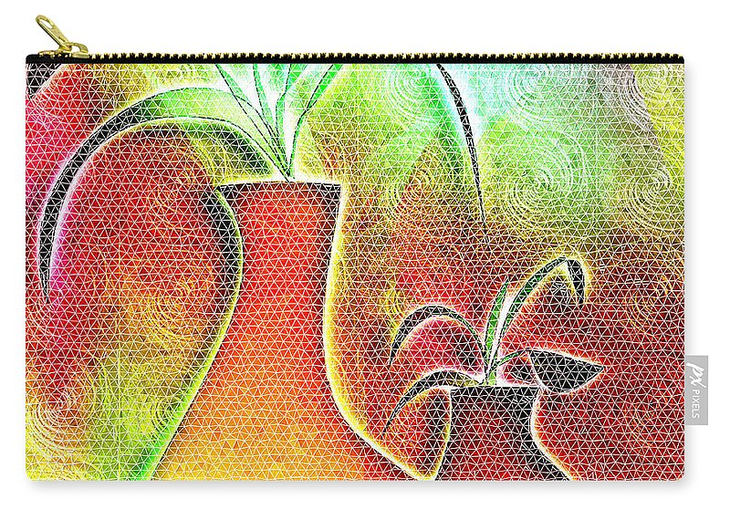 Plants Carry-all Pouch featuring the digital art Mosaic #134 by Iris Gelbart