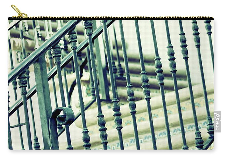 Mint Carry-all Pouch featuring the photograph Mosaic and Iron Staircase La Quinta California Art District in Mint Tones Photograph by Colleen by Colleen Cornelius
