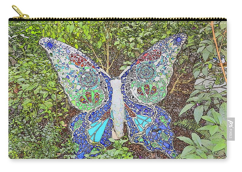 Butterfly Carry-all Pouch featuring the digital art Mosaic Butterfly by Robert Nelson