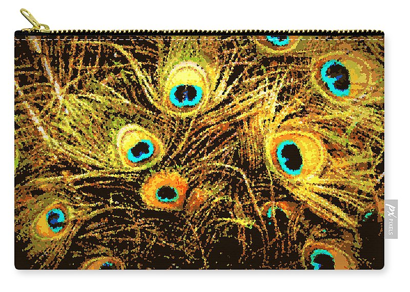 Peacock Carry-all Pouch featuring the photograph Mosaic Feathers by Tina Meador
