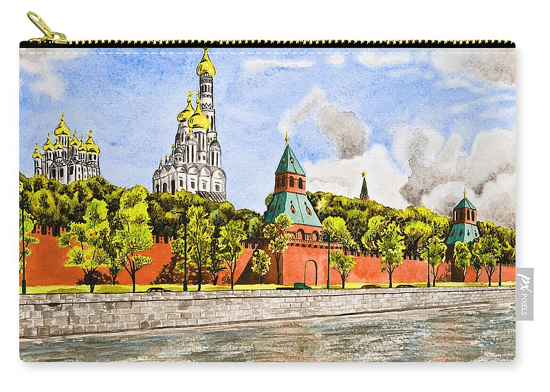 Buildings Carry-all Pouch featuring the painting Moscow River by Svetlana Sewell